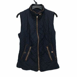 Zara Womens Quilted Vest Blue Mock Neck Size S
